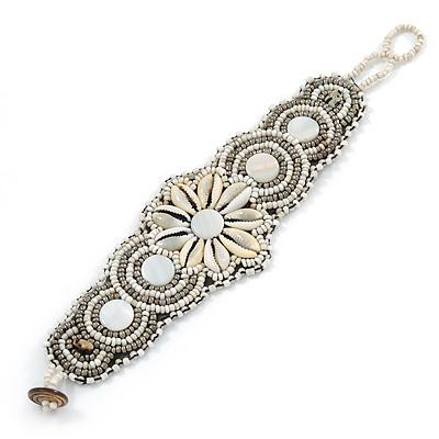 Handmade Boho Style Beaded, Shell Wristband Bracelet (White, Cream, Silver) - 16cm L/ 2cm Ext