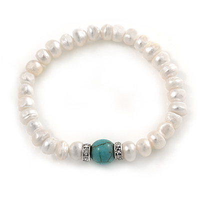 7-8mm White Freshwater Pearl with Turquoise Bead Flex Bracelet - 18cm L