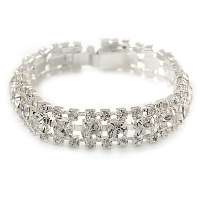 Bridal/ Wedding/ Prom/ Party Austrian Crystal Bracelet with Tongue Clasp In Silver Tone - 17cm L