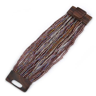 Plum/ Transparent/ Purple Glass Bead Multistrand Flex Bracelet With Wooden Closure - 19cm L