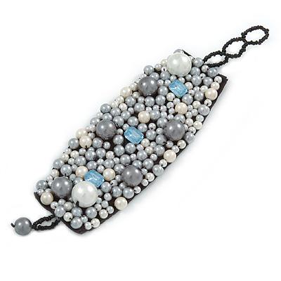 Handmade Cream/ Grey Faux Pearl, Jewelled, Fabric Wristband Bracelet - 15cm L/ 4cm Ext