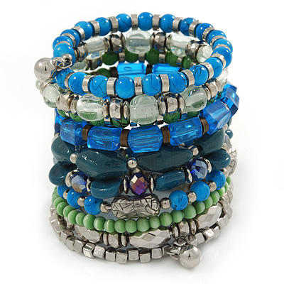 Wide Coiled Ceramic, Acrylic, Glass Bead Bracelet (Green, Blue, Teal, Clear, Silver) - Adjustable - main view