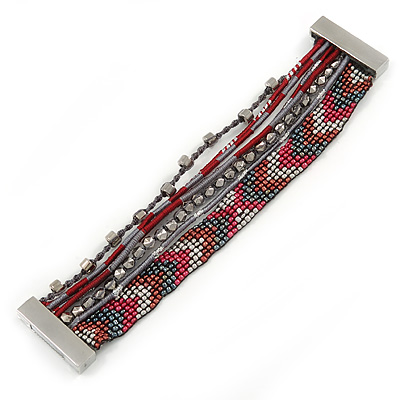 Hematite/ Silver/ Dark Red Glass Bead, Silk Cord Handmade Magnetic Bracelet - 18cm L