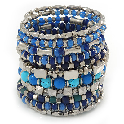 Wide Coiled Ceramic, Acrylic, Glass Bead Bracelet (Blue, Teal, Silver) - Adjustable