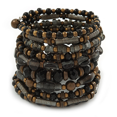 Wide Coiled Ceramic, Acrylic, Glass Bead Bracelet (Black, Bronze, Grey) - Adjustable