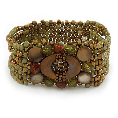 Olive/ Bronze Glass Bead Flex Bracelet with Shells - up 20cm L