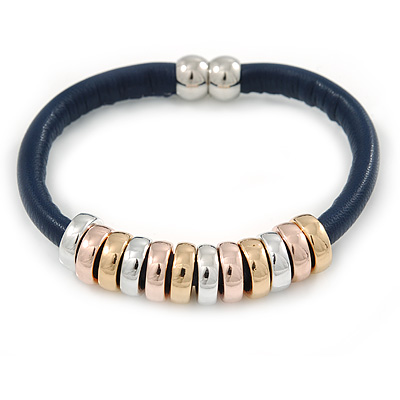 Dark Blue Leather with Silver/ Gold /Rose Gold Metal Rings Magnetic Bracelet - 19cm L