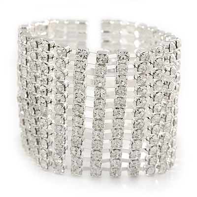 Wide Statement 12 Row Clear Austrian Crystal Bracelet with Tongue Clasp In Silver Tone - 18cm L