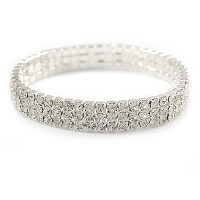 3 Row Clear Austrian Crystal Flex Bracelet In Silver Tone - 18cm L