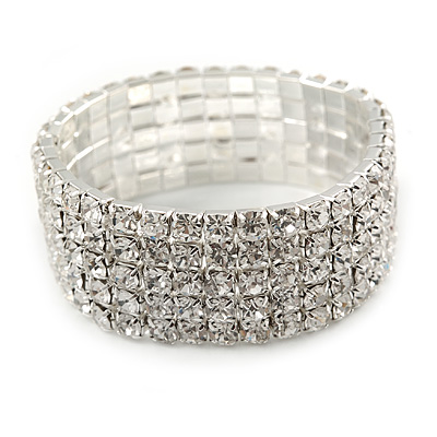 5 Row Clear Austrian Crystal Flex Bracelet In Silver Plating - up to 20cm L
