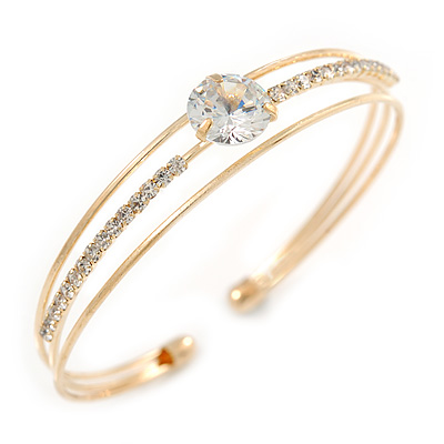 Delicate Open Round-Cut CZ Cuff Bangle Bracelet In Gold Tone - 19cm L - Adjustable