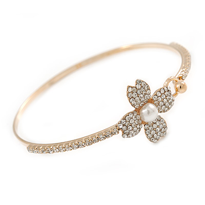 Delicate Clear Crystal, Pearl Flower Thin Bangle Bracelet In Gold Tone - 19cm