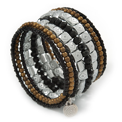Jet Black Glass, Silver & Bronze Tone Acrylic Bead Coiled Flex Bracelet - Adjustable