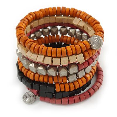Wide Cherry/ Black/ Orange Wooden Bead Coil Flex Bracelet - Adjustable - main view