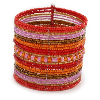 Wide Snow Red/ Orange/ Carrot/ Bronze/ Pink Glass Bead Flex Bracelet - Adjustable - 60mm W