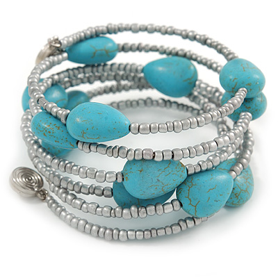 Turquoise Stone and Metallic Silver Glass Bead Multistrand Coiled Flex Bracelet - Adjustable - main view
