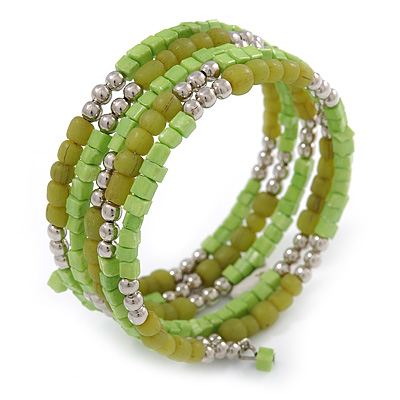 Lime Green/ Light Olive Stone, Silver Acrylic Bead Multistrand Coiled Flex Bracelet - Adjustable - main view