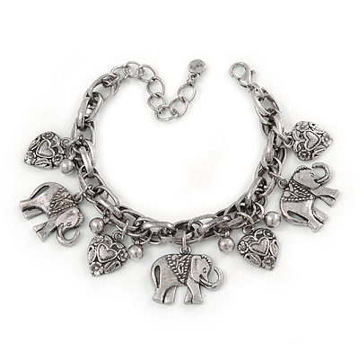 Vintage Inspired Elephant and Heart Charm Chunky Chain Bracelet In Silver Tone - 17cm L/ 5cm Ext - main view
