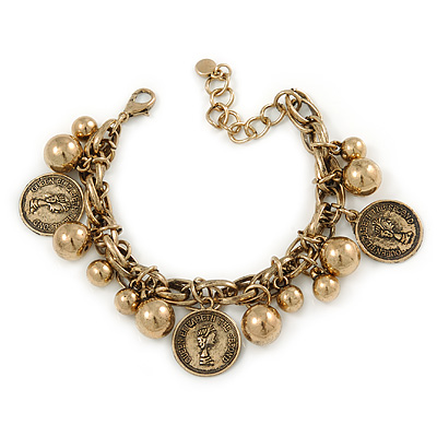 Vintage Inspired Coin and Bead Charm Chunky Link Bracelet In Antique Gold Tone Metal - 17cm L/ 5 cm Ext