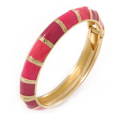 Deep Pink/ Fuchsia Enamel Hinged Bangle Bracelet In Gold Plating - 19cm L