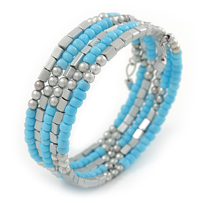 Light Blue Glass Bead, Silver Acrylic Bead Multistrand Coiled Flex Bracelet - Adjustable