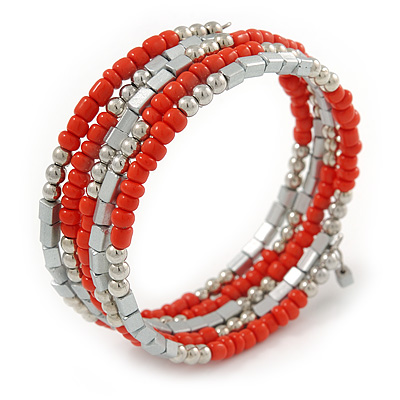 Coral Orange Glass Bead, Silver Acrylic Bead Multistrand Coiled Flex Bracelet - Adjustable