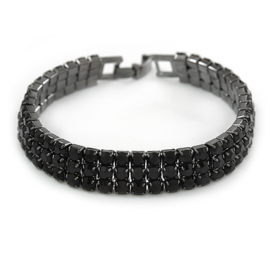 3 Row Jet Black Crystal Tennis Bracelet In Black Tone Metal - 16.5cm L - (For smaller hands)