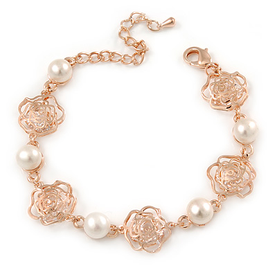 Delicate Filigree CZ Rose with Simulaled Pearl Bracelet In Rose Gold Tone Metal - 15cm L/ 5cm Ext (For Small Wrist)
