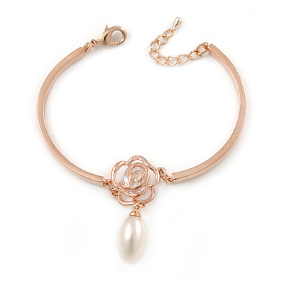 Romantic CZ Rose with Dangling Pearl Bracelet In Rose Gold Metal - 15cm L/ 3cm Ext (For Small Wrist)
