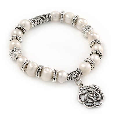 10mm Freshwater Pearl With Rose Flower Charm and Silver Tone Metal Rings Stretch Bracelet - 18cm L - main view