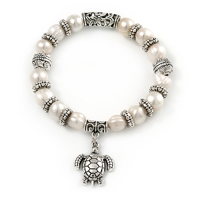 10mm Freshwater Pearl With Turtle Charm and Silver Tone Metal Rings Stretch Bracelet - 18cm L - main view