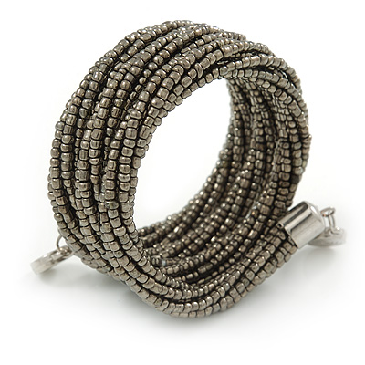 Teen/ Children/ Kids Black/ Taupe Glass Bead Multistrand Bracelet - 15cm L