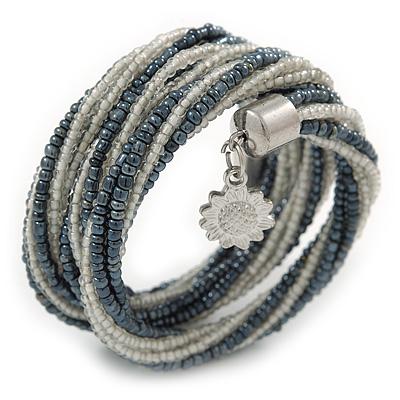 Teen/ Children/ Kids Hematite/ Transparent White Glass Bead Multistrand Bracelet - 15cm L