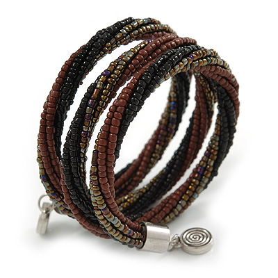 Teen/ Children/ Kids Black/ Bronze/ Brown Glass Bead Multistrand Bracelet - 15cm L