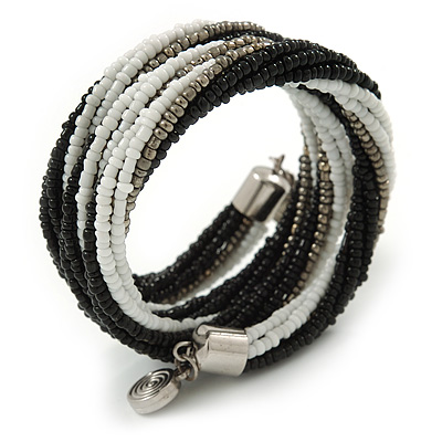 Teen/ Children/ Kids Black/ White/ Grey Glass Bead Multistrand Bracelet - 15cm L