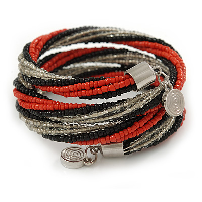 Teen/ Children/ Kids Black/ Transparent/ Orange Glass Bead Multistrand Bracelet - 15cm L