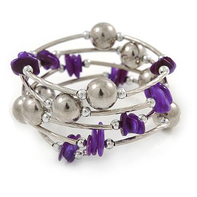 Purple Shell Nugget, Mirrored Ball Bead Multistrand Flex Bracelet - Medium - main view