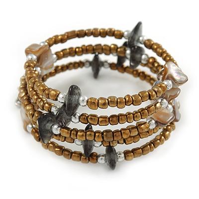 Bronze Glass Bead Grey/ Antique White Shell Nugget Multistrand Coiled Flex Bracelet - Adjustable