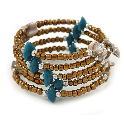 Bronze Glass Bead Teal/ Antique White Shell Nugget Multistrand Coiled Flex Bracelet - Adjustable