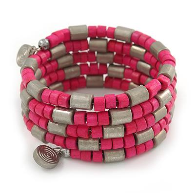 Deep Pink Wood Bead and Silver Tone Metal Bar Multistrand Flex Bracelet