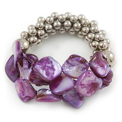 Purple Shell Mirrored Silver Acrylic Bead Flex Bracelet - 17cm L - main view