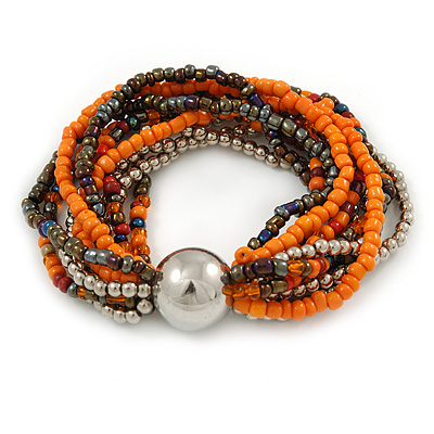 Multistrand Glass and Plastic Bead Flex Bracelet with a Ball (Orange/ Silver/ Peacock) - 18cm L - main view