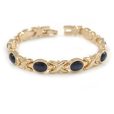 Plated Alloy Metal Blue Cat Eye Stone Ladies Magnetic Bracelet - 17cm Long