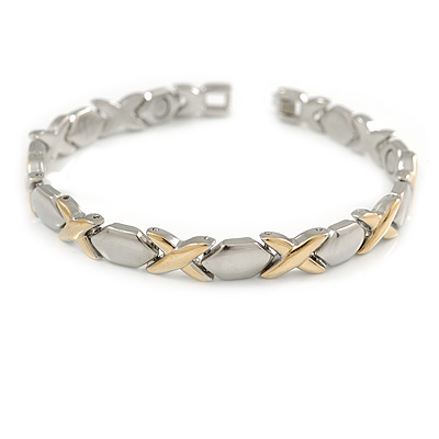 Two Tone Plated Alloy Metal Oval and Cross Motif Ladies Magnetic Bracelet - 19cm L (Large)
