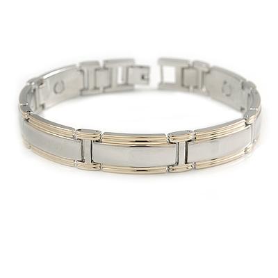 Men Two Tone Copper Magnetic Bracelet with Seven Magnets - 21cm L