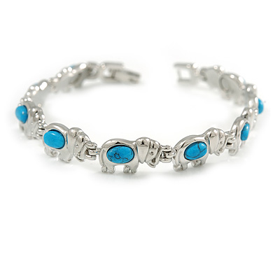 Plated Alloy Metal Turquoise Stone Elephant Ladies Magnetic Bracelet - 17cm Long