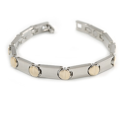 Plated Alloy Metal Ladies Magnetic Bracelet with Gold Tone Circle Motif - 19cm L (Large)