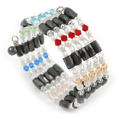Hematite, Pearl, Glass Bead Magnetic Necklace/ Bracelet (Grey, White, Red, Blue, Green) - 90cm Total Length - main view