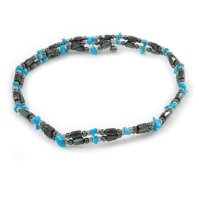 Hematite Bead with Turquoise Nugget Magnetic Necklace/ Bracelet - 90cm Total Length