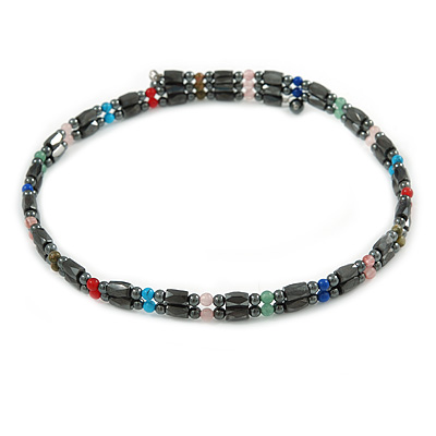 Hematite Bead with Semiprecious Multicoloured Stones Magnetic Necklace/ Bracelet - 90cm Total Length